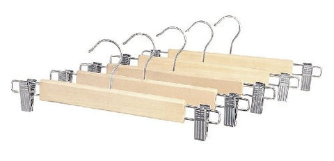 "Whitmor Skirt Hangers Chrome Neck Clear Wood 1"" X 13.5"" X 4.9"""