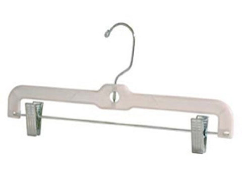 "14"" Clear Heavy Weight Clear Plastic Skirt & Pant Hanger with Chrome Hook and Clips -Lot of 100"