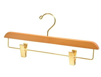Light Oak Finish Pant/Skirt Hanger with Brass Plated Metal Hardware - Large Box of 100