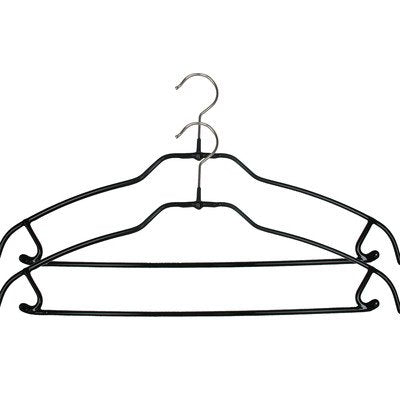 MAWA Reston Lloyd Silhouette Ultra Thin Non-Slip Space Saving 41-FTU Clothes Hanger with Bar and Hooks for Pants and Skirts, Set of 2, Black, Pack of 2