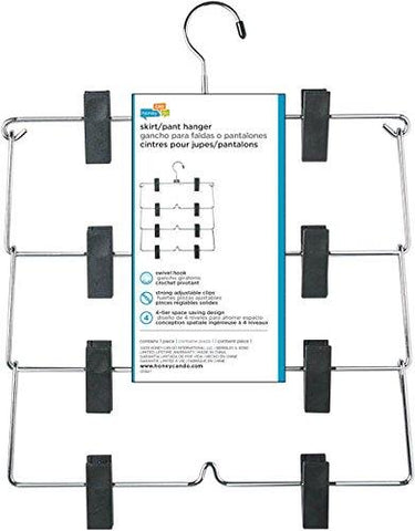 Honey-Can-Do HNG-01188 Fold Up Skirt Hanger, Chrome/Black, 4-Tier, 1 Pack