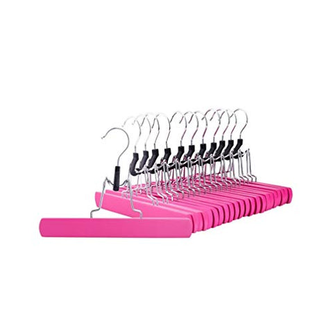 Xyijia Hanger (12Pcs/Lot Pink Wooden Collection Slack Hanger, Wood Skirt Hangers, Pant Hangers Anti-Rust Hook Skirt
