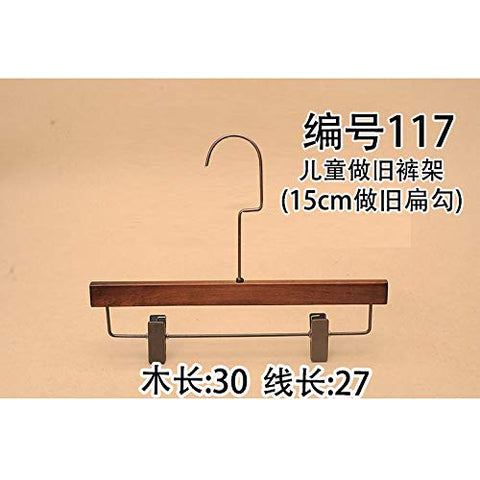 Xyijia Hanger (10Pcs/ Lot Wood Hanger High-Grade Antique Men and Women Adult Long Hook White Black Retro Clothing Shop Wooden Pants Rack Wood Pants Clip Slip