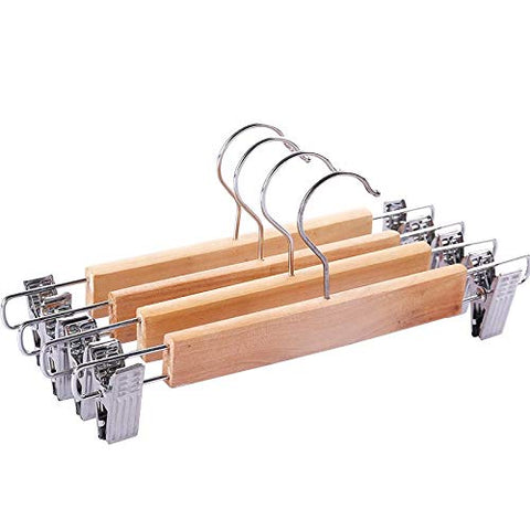 Solid Wooden Pant Skirt Hangers with 2-Adjustable Anti-Rust Clips, 10-Pack,long28cm