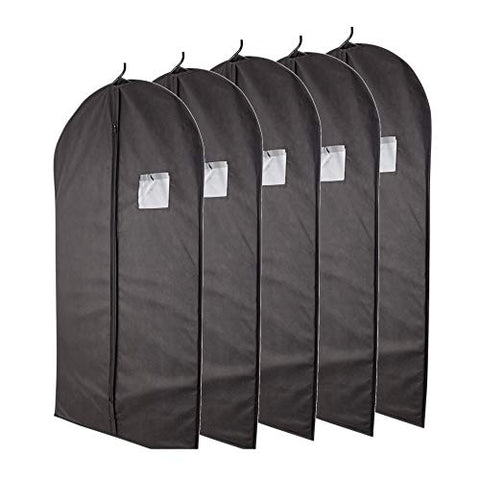 "Plixio Garment Bags Suit Bag for Travel and Clothing Storage of Dresses, Dress Shirts, Coats— Includes Zipper and Transparent Window (Black- 5 Pack: 40"")"