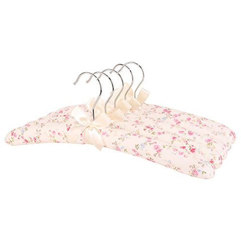 Neoviva 15.7 Inch Anti Slip Thick Floral Padded Hangers Set for Adults Women, Pack of 5 Foam Fabric Coat Hanger for Sweater Dresses
