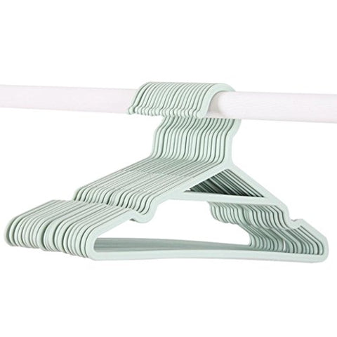 ink2055 Plastic Solid Color Coat Pants Clothes Hanger Non-slip Groove Drying Rack