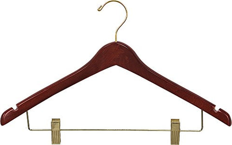 The Great American Hanger Company Curved Wood Combo Hanger w/Adjustable Cushion Clips, Box of 25 17 Inch Wooden Hangers w/Walnut Finish & Brass Swivel Hook & Notches for Shirt Jacket or Dress