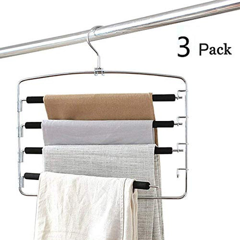 MEOKEY Pants Hangers Slacks Hangers Space Saving Non Slip Stainless Steel Clothes Hangers Closet Organizer for Pants Jeans Trousers Scarf (3-Pack)