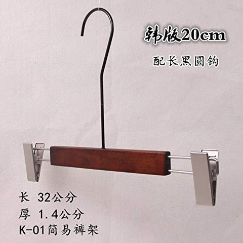 Xyijia Hanger (10Pcs/ Lot Wood Hanger Clothing Store Retro Ladies Non-Slip Wood Clothes Hanging Home Clothes with 20Cm Long Black Round Hook