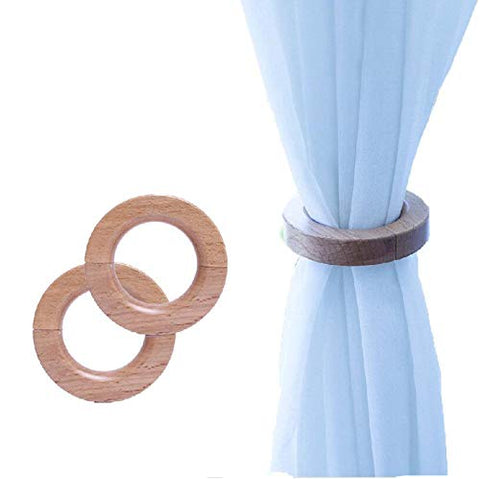 HAIBEIR Wooden Magnetic Curtain Tieback Decorative Drapes Holders Pants Hanger Natural Beechwood Buckles 1 Pair (Natural Wood)