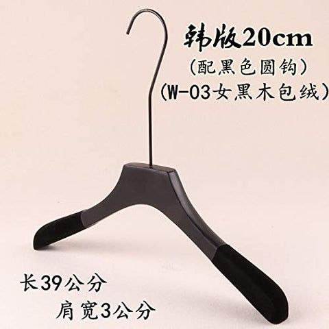 Xyijia Hanger (10Pcs/ Lot Wooden Hangers Clothing Store Men and Women Black Wooden Clothes Hanging Clothes Pants Rack with Long Round Hook