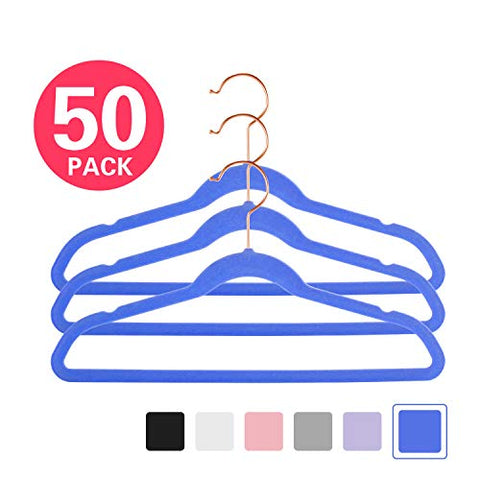 "Premium Kids Velvet Hangers (Pack of 50) 14"" wide with Copper/Rose Gold Hooks,Space Saving UltraThin,NonSlip Hangers use for Petite Junior Children's skirt dress pants,Clothes Hangers-Royal Blue"