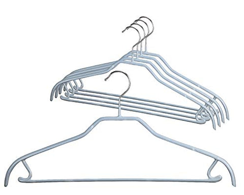 MAWA Style 41-FRS Reston Lloyd Silhouette, Non-Slip Metal Clothing Hanger with Pant Bar & Hook, Pack of 5, Silver, 5 Piece