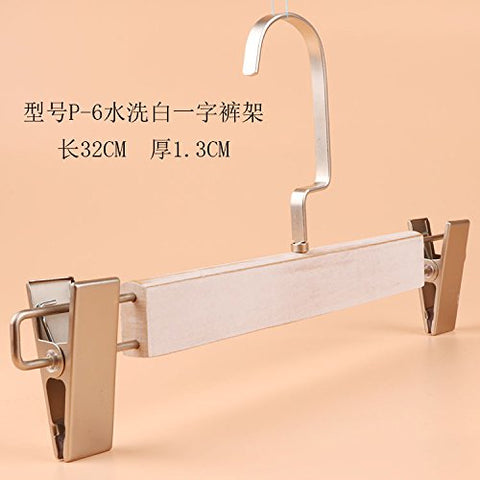 Kexinfan Hanger Clothing Store Solid Wood Hanger Pants Hanger Adult Men Women Wooden Non-Slip Hanger Hanger Wood Hanger, 1Pcs, P-6 Washed White Word Pants Hanger