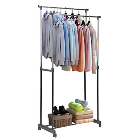 IOOkME-H Double Rail Clothes Rack Adjustable Height Rolling Garment Rack Stainless Steel 2 Shelf Pole Clothes Hanger Freestanding Organizer