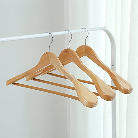 U-emember Wooden Hangers In The Civil Air Defense Slide Hanging Wide-Shoulder A Scratch Coat Hanger Wooden Clothes Rack Wooden Clothes Rack Clothes Poles, 3, The Original Color Men