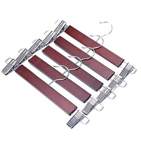 JS HANGER Wooden Pant Skirt Hangers Smooth Walnut Finish Wooden Pant Skirt Hangers with 2-Adjustable Anti-Rust Clips, 5-Pack