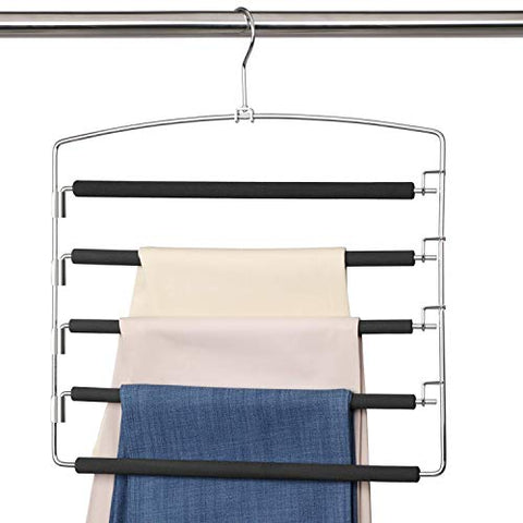 Meetu Pants Hangers 5 Layers Stainless Steel Non-Slip Foam Padded Swing Arm Space Saving Clothes Slack Hangers Closet Storage Organizer for Pants Jeans Trousers Skirts Scarf Ties Towels (1 Pack)