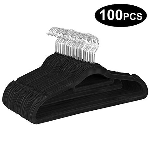 LEMY Velvet Suit Hanger Coat Clothes Non Slip Curved Trousers Dresses Hanger?360°Swivel Hook 100pcs/Lot?Black