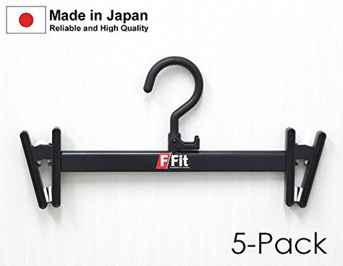 Pants and Skirt Hanger with Plastic Clips, Black 5 Pack , with Adjustable slide arm for Change the width , Made in Japan