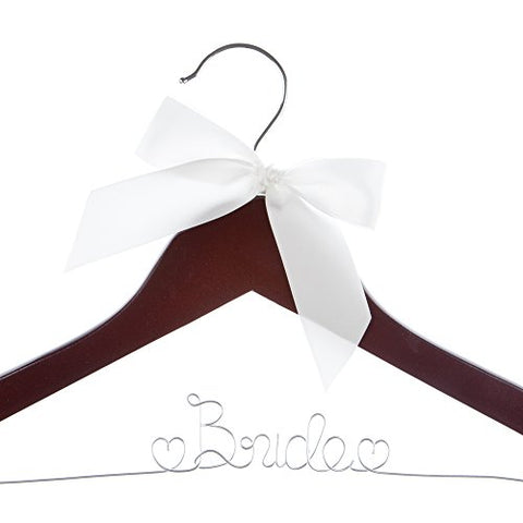 Ella Celebration Bride to Be Wedding Dress Hanger Wooden and Wire Hangers for Gown (Mahogany Wood Silver Wire)