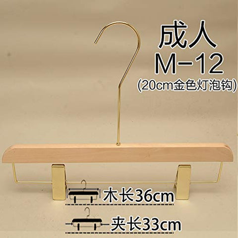 Xyijia Hanger (10Pcs/ Lot Wood Hanger Unpainted Color Gold Hook Clothing Store Wood Hanging Women's Wood Color Wooden Pants Rack