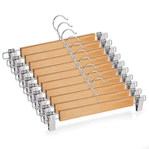 Casafield - 10 Natural Wooden Pants Hangers with Non-Slip Metal Clips - Premium Lotus Wood & Chrome Swivel Hook for Dress Clothes, Trousers, Skirts, Slacks