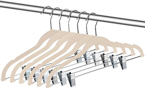 ZOYER Velvet Clothes Hangers with Clips - 12 Pack - Velvet Skirt Hangers - Non-Slip Pant Hangers (Ivory)