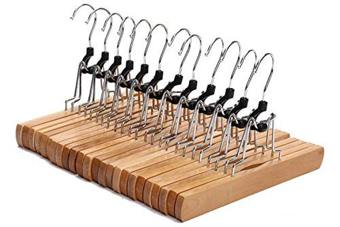 JS HANGER Natural Solid Wooden Collection Slack Hanger, Wood Skirt Hangers, Natural Polished, Set of 12