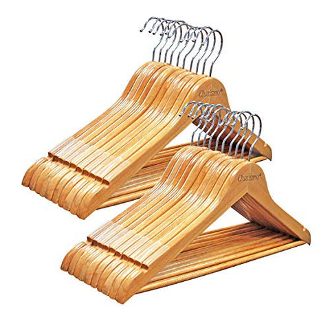 Qualsen Wooden Hangers with Non-Slip Strip –20 Pack– Coat Suit Clothes Hanger (20 Set, Natural)