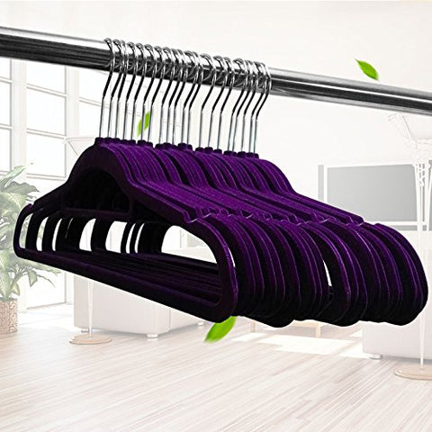 U-emember Extra Thick Winter Clothes Rack Coat Hanger Non-Marking Coat Hanger Can Be Customized For 50 Months, The Purple 38Cm Purple)