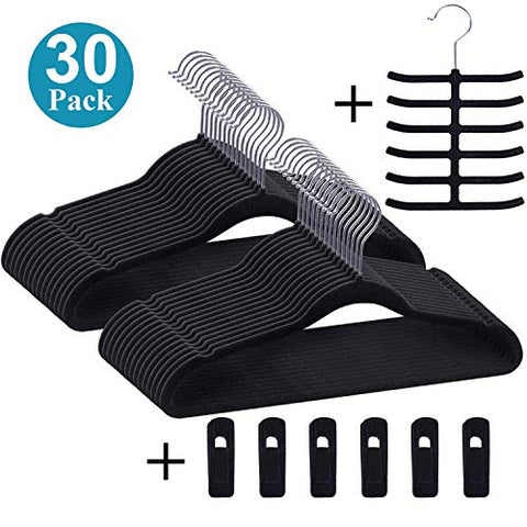 VECELO Premium Velvet Suit Heavy Duty(30 Pack) -Non Slip & Space-Saving Clothes Hangers with 6 Finger Clips & Tie Rack Excellent for Men and Women(Black), Dark