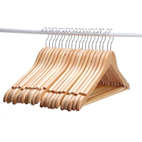 Wood Hangers , Multifunctional High-grade Solid Wood Suit Hangers, Natural Finished Coat Hanger with Round Bar ,20-pack