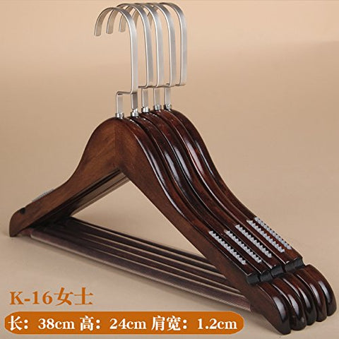 Kexinfan Hanger Solid Wood Hanger Adult Clothing Store Children Clothes Rack Wood Clothing Support Clothes Hanging Wardrobe Home Wooden Pants Rack, 10, K-16 Non-Slip Female Models