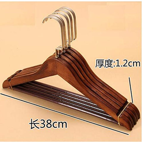 Xyijia Hanger 5Pcs/Lot 38Cm Solid Wood Suit Hanger Anti-Skid Clothes Hanger