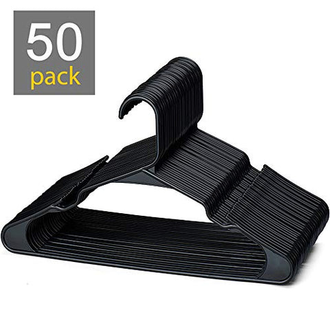 HOUSE DAY Black Plastic Hangers,50 Pack Plastic Clothes Hangers for Skirt Suit Coat, Standard Clothing Hangers