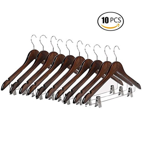 Emango Wooden Pant Hanger, 10-Pack Natural Finish Wooden Suit Hangers with Steel 2-Adjustable Clips and Anti-rust Hooks, Skirt Hangers, Standard Clothes Hangers