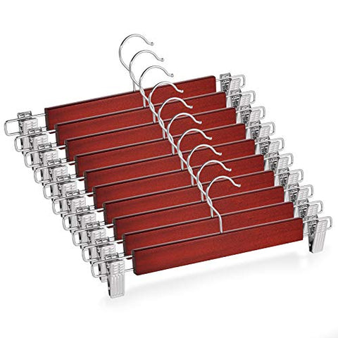 Casafield - 10 Cherry Wooden Pants Hangers with Non-Slip Metal Clips - Premium Lotus Wood & Chrome Swivel Hook for Dress Clothes, Trousers, Skirts, Slacks