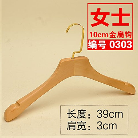 Kexinfan Hanger Logs Character Solid Wood Clothes Rack Clothing Store Men Women Adult Wooden Clothes Hanging Pants Clip High Grade Wood Clothing Support, 10, 10 Gold Hook -0303 Female Wood Thickening