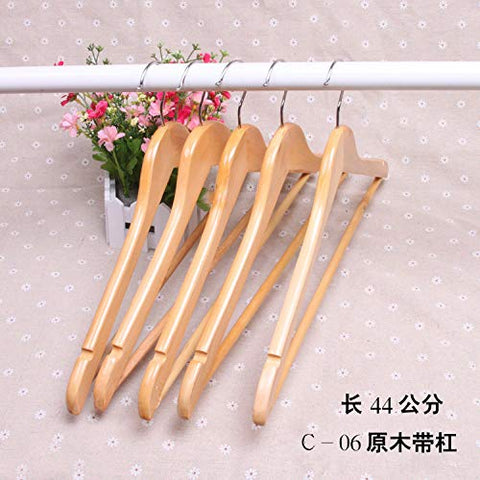 Xyijia Hanger (10Pcs/ Lot Wood Hanger Natural Wood Color Thickening Pants Clip Men and Women High-End Clothing Store Hanger Non-Slip