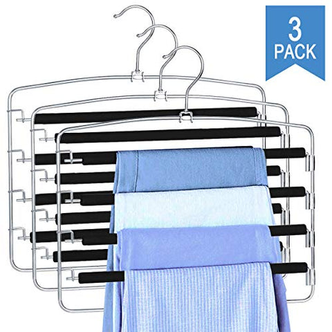 Clothes Pants Slack Hangers Non Slip Closet Storage Organizer Space Saving Hanger with Foam Padded Swing Arm for Pants Jeans Scarf Trousers Skirts (3-Pieces)