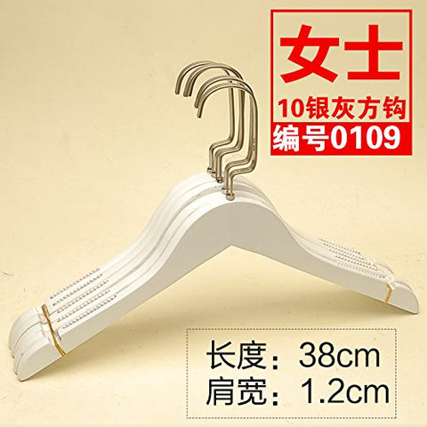 Kexinfan Hanger Clothing Store Wooden Hanger High-Grade Solid Wood Non-Slip Long Hook Female White Solid Wood Hanger, 10, 10 Square Hooks-0109 Female White Round Tooth