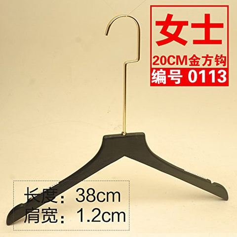 Kexinfan Hanger High-Grade Black Female Models Solid Wood Hanger Gold Hook Clothing Store Clothing Hanging No Trace Solid Wood Clothing Support, 10, 20 Gold -0113 Female Brushed Black Flat With Teeth
