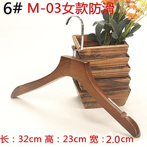 SHRCDC Natural Wood/Hanger 10Pack/Non-Slip(28-45.5Cm)/Brown/Children Adult/Tops/Pants/Skirt Suitable Hangers,10 Pcs,I32Cm