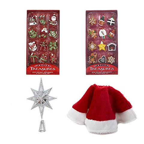 Kurt Adler Mini Christmas Tree Decoration Set: 24-Piece Mini Ornaments with Hangers, Tree Skirt, and Silver Tree Topper
