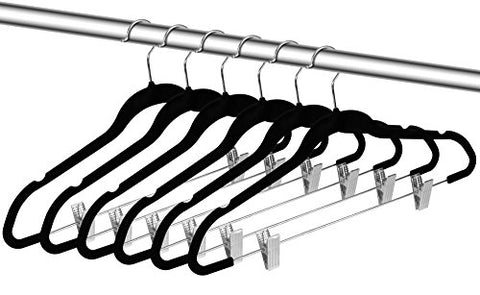 ZOYER Velvet Skirt Hangers (20 Pack) with Clips - Velvet Clothes Hangers Non-Slip Pant Hangers - Black