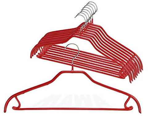 Mawa by Reston Lloyd Silhouette Series Non-Slip Space Saving Clothes Hanger with Bar & Hook for Pants and Skirts, Style 41/FRS, Set of 12, Red