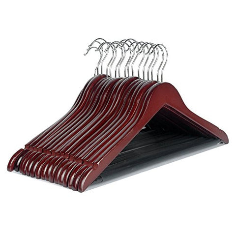 LOHAS Home 16-Pack Cherry Wood Suit Hangers with Non Slip Bar and Precisely Cut Notches - 360 Degree Swivel Chrome Hook - Cherry Finish Super Sturdy