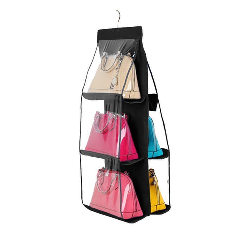 Discover the best geboor hanging handbag organizer dust proof storage holder bag wardrobe closet for purse clutch with 6 larger pockets black